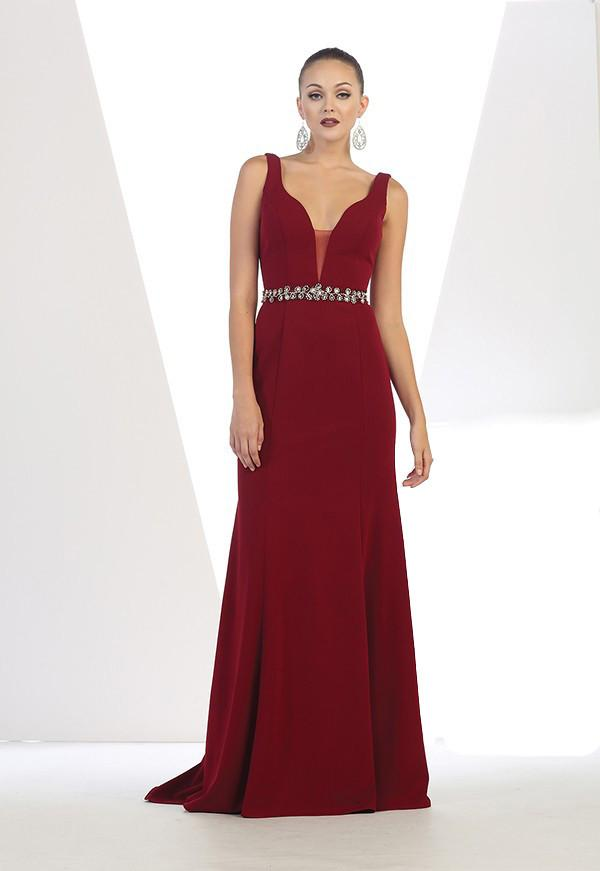 Sleeveless Long Neck Gown With Belt Detail