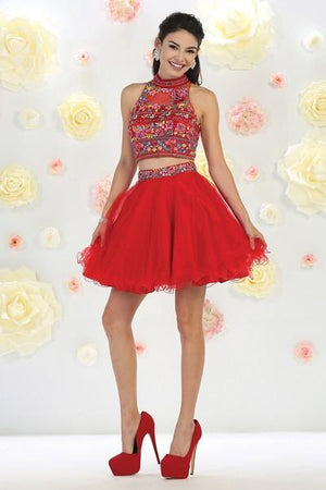 Two-Piece Floral Embroidered Halter Dress