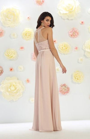 Solid Sheer Layered Mesh Gown