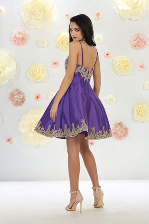Spaghetti Strap Embroidered Dress With Leaf Border Design