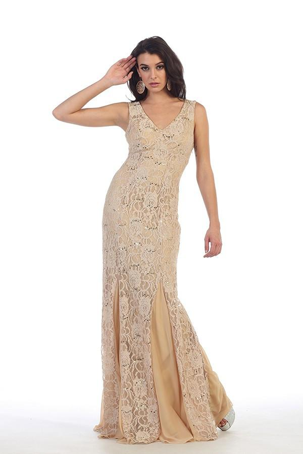 Embellished Laced Sleeveless Gown
