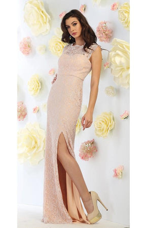 Slit Floral Design Lace Gown
