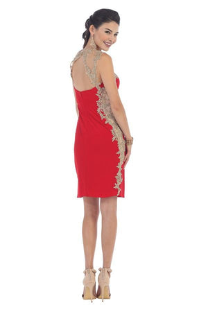 Embroidered Dress With Leaf Border Trim Design