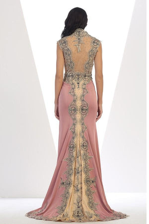 Long Embroidered Gown With Leaf Border Trim Design
