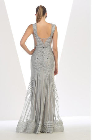 Round Neck Embellished Lace Gown