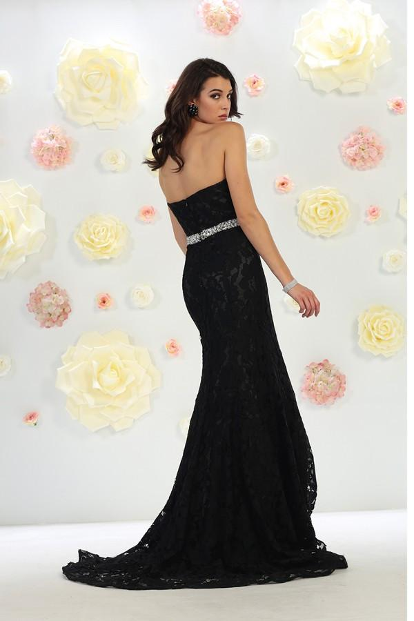 Embroidered Lace Gown With Belt