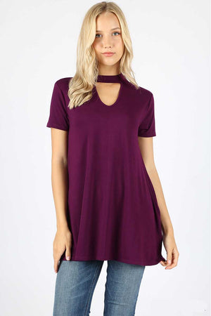 Short Sleeve Choker Neck Top