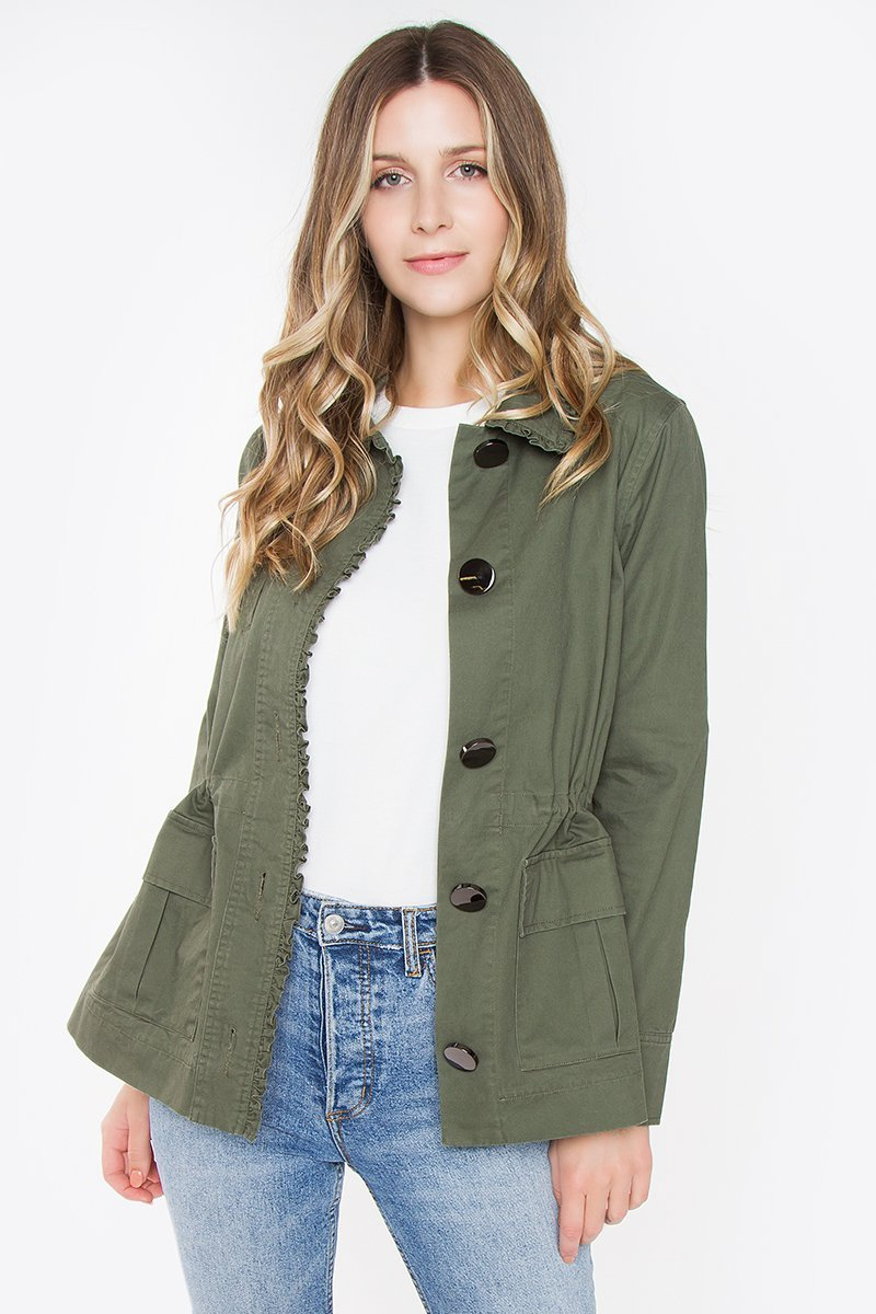 Barb Ruffle Military Jacket