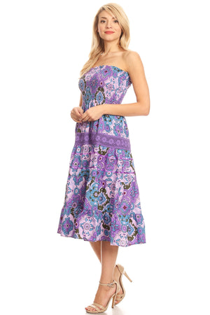 Strapless Floral Midi Dress