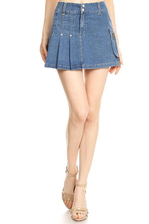 Women's Pleated Denim Skirt with Zippered Pockets