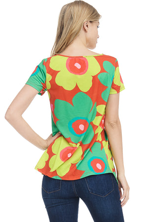 Flower Print Short Sleeve Top