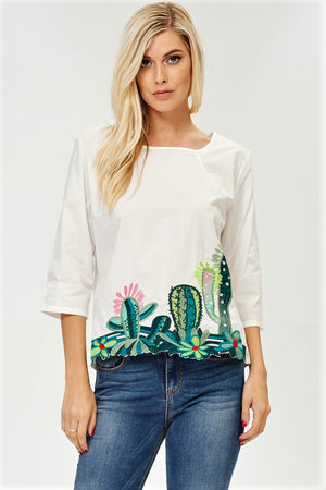 Cactus Embroidered Top