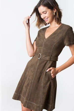 Sugarlips Clio Suede Stitch Dress