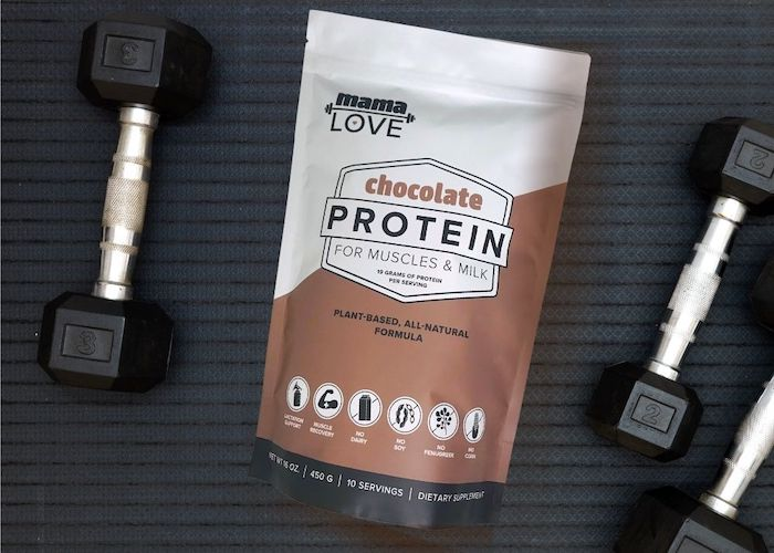Mama Love Chocolate Protein makes nutritious protein shakes for breastfeeding and post-workout muscle recovery.