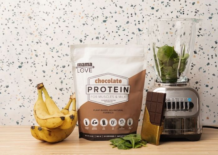 Mama Love Chocolate Protein is made with superfood ingredients that boost breast milk and support post-workout muscle recovery.