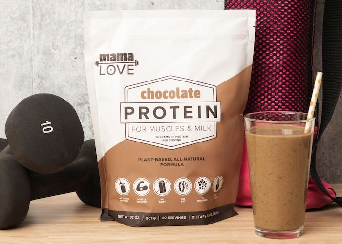 Mama Love Chocolate Protein makes a nutritious post-workout snack or protein shake for breastfeeding.
