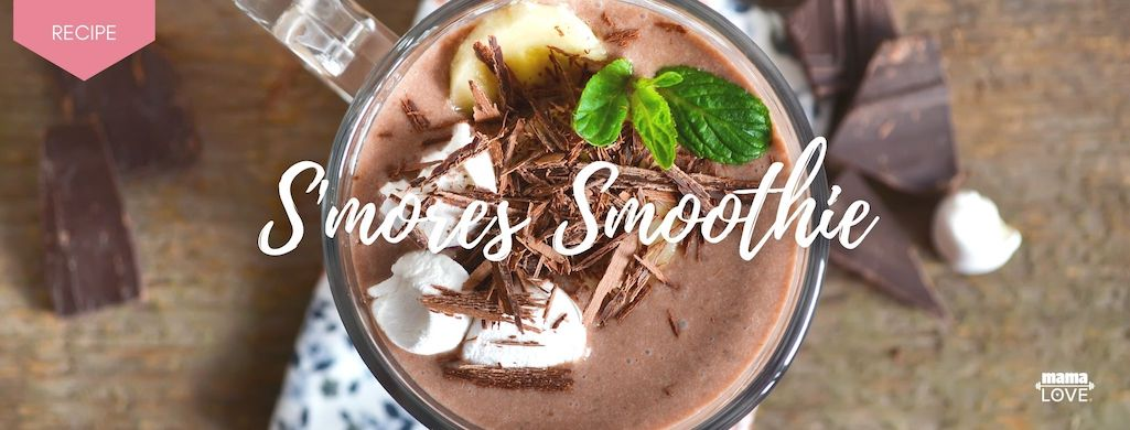 S'mores smoothie with Mama Love Chocolate Protein and marshmallows