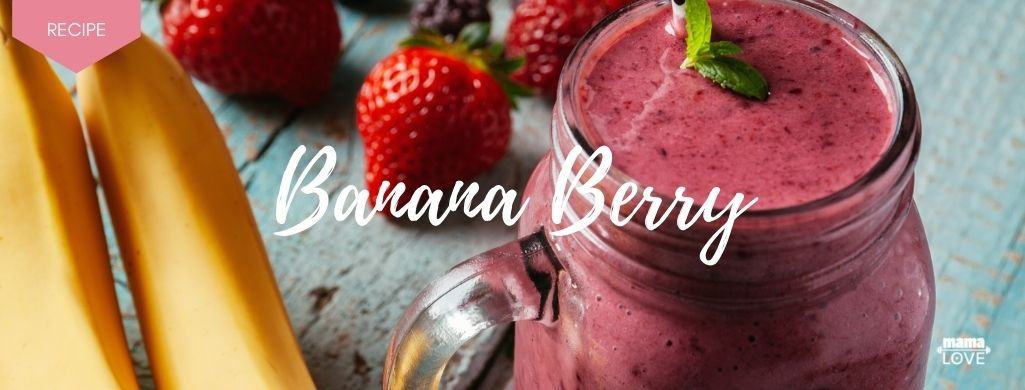 banana berry smoothie to boost breast milk and support muscle recovery