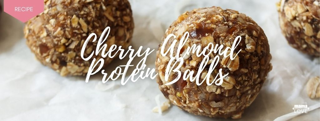 cherry almond protein balls to boost breast milk and support muscle recovery