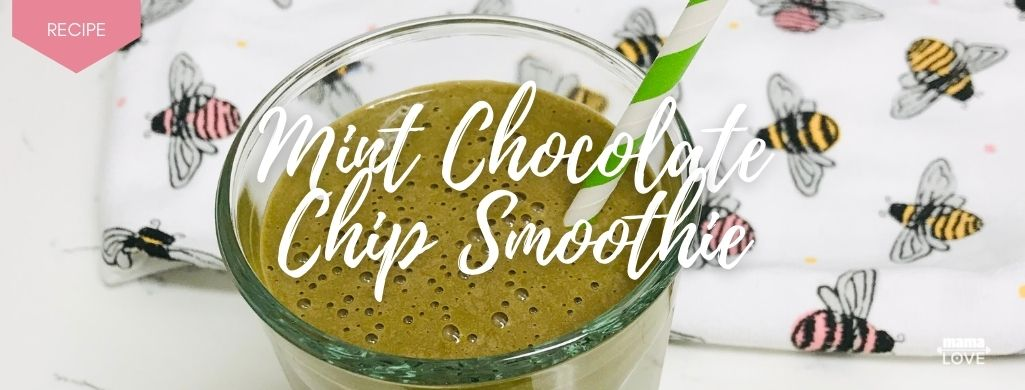 mint chocolate chip smoothie to boost breast milk and support muscle recovery