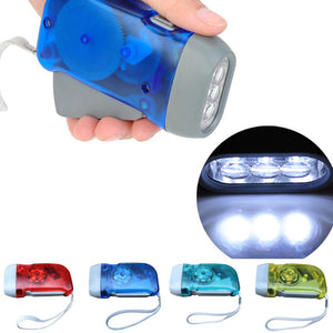 3 LED Hand Crank Traveling Hand Flashlight LED
