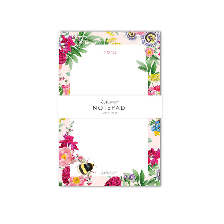 Notepad featuring Botanical Bee - Lola Design Ltd