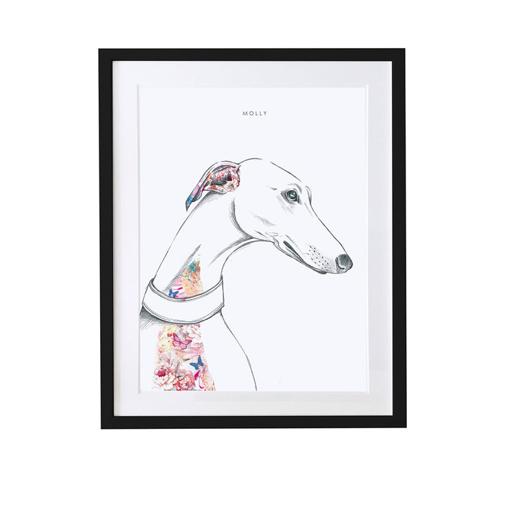 Greyhound Personalised Pet Portrait - Lola Design Ltd