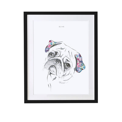 Pug Personalised Pet Portrait - Lola Design Ltd