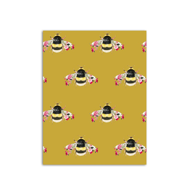 Single Bee Mustard Wallpaper Sample - Lola Design Ltd