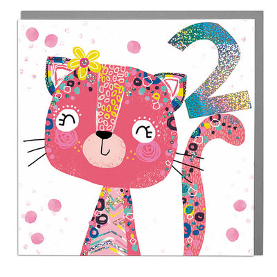 Cat Age 2 Birthday Card - Lola Design Ltd