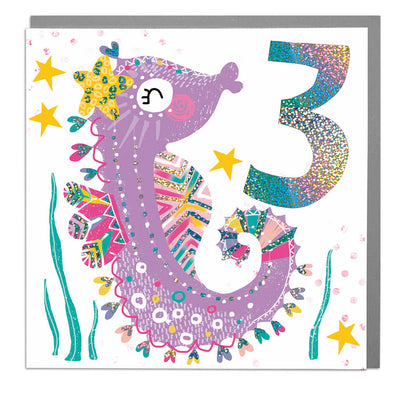 Seahorse Age 3 Birthday Card - Lola Design Ltd