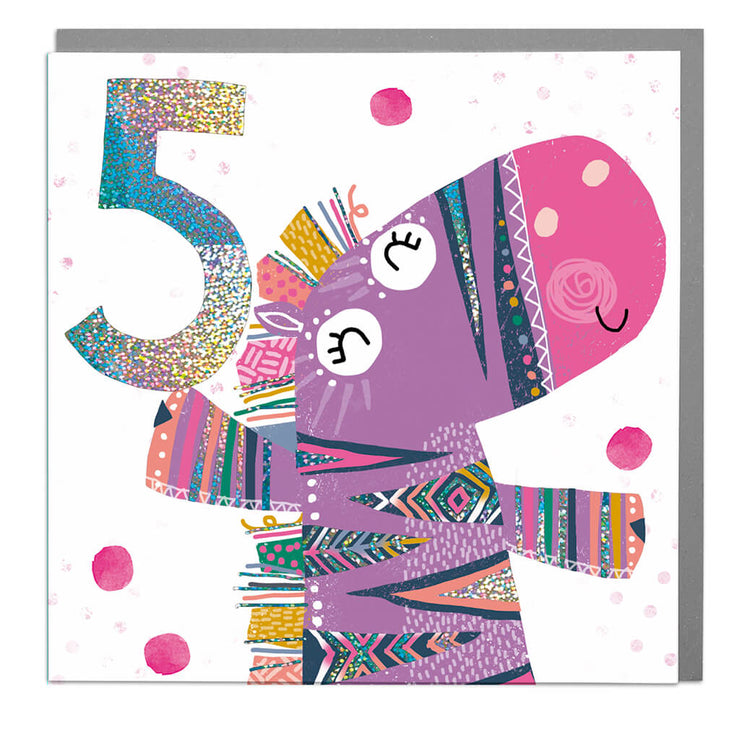Zebra Age 5 Birthday Card - Lola Design Ltd