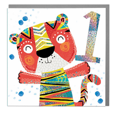 Tiger Age 1 Birthday Card - Lola Design Ltd