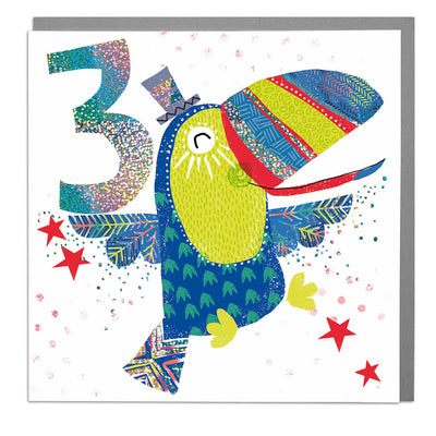 Toucan Age 3 Birthday Card - Lola Design Ltd