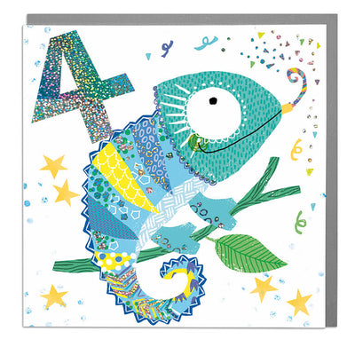 Chameleon Age 4 Birthday Card - Lola Design Ltd
