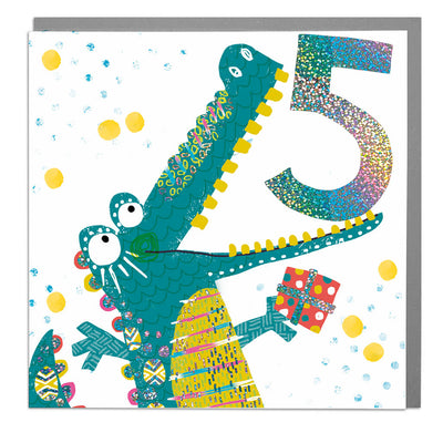 Crocodile Age 5 Birthday Card - Lola Design Ltd