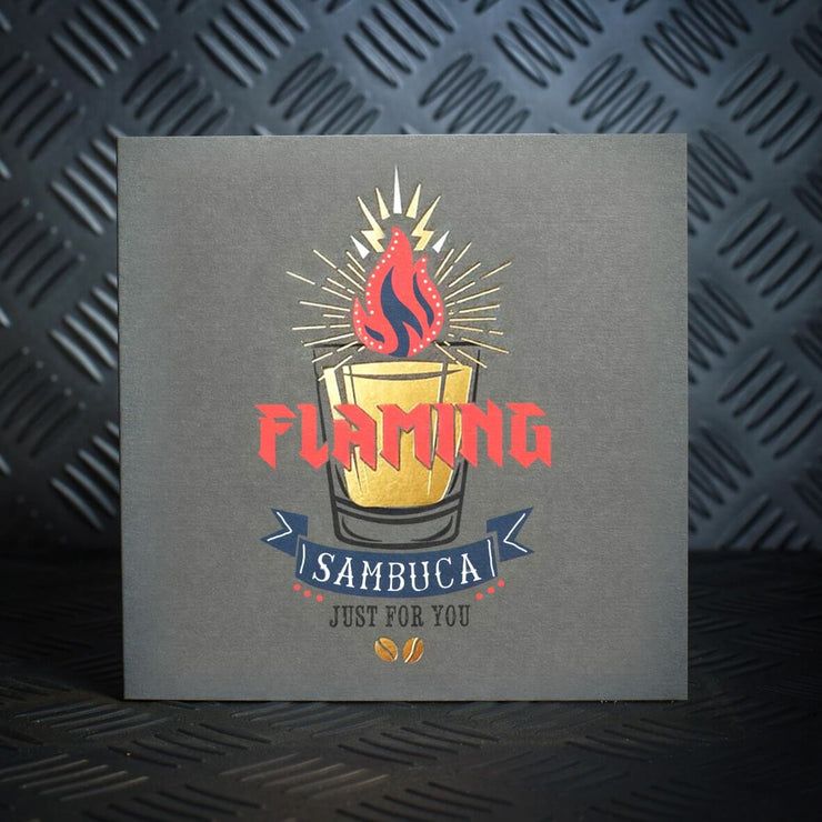 Flaming Sambuca Birthday Card - Lola Design Ltd