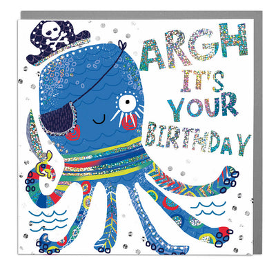 Octopus Happy Birthday Card - Lola Design Ltd