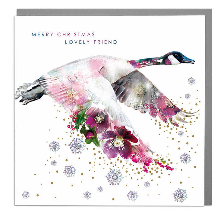 Canadian Goose Lovely Friend Christmas Card - Lola Design Ltd