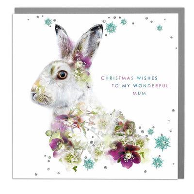 Mountain Hare Christmas Wishes To My Wonderful Mum Card - Lola Design Ltd