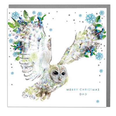 Tawny Owl Merry Christmas Dad Card - Lola Design Ltd