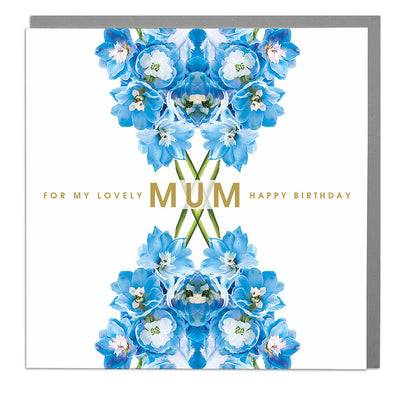 Delphiniums Lovely Mum Birthday Card - Lola Design Ltd