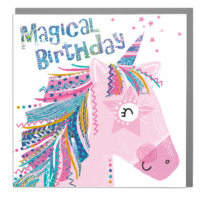 Unicorn Happy Birthday Card - Lola Design Ltd