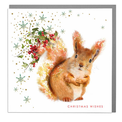 Red Squirrel Christmas Card - Lola Design Ltd
