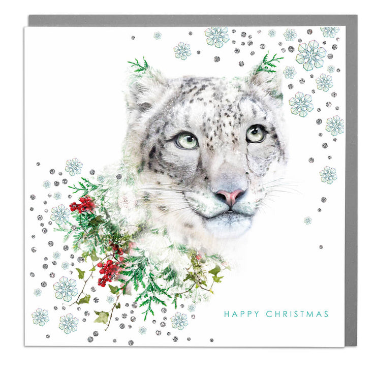 Snow Leopard Christmas Card - Lola Design Ltd