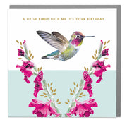 Humming Bird Birthday Card - Lola Design Ltd