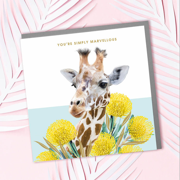 Giraffe Simply Marvellous Card - Lola Design Ltd
