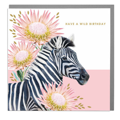 Zebra Wild Birthday Card - Lola Design Ltd