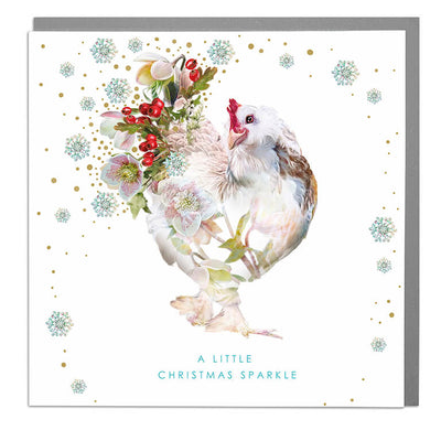 Christmas Sparkle French Hen Card - Lola Design Ltd