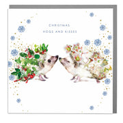 Hedgehog Hogs And Kisses Christmas Card - Lola Design Ltd